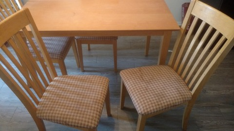 Light Wooden Table + 4 Matching Chairs - $50 OBO